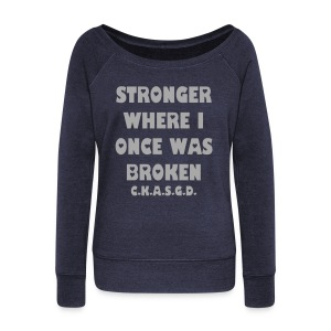 Can't Keep A Sober Girl Down Stronger-Hip Glitter Sweatshirt - Women's Wideneck Sweatshirt