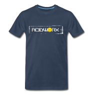 T-Shirts ~ Men's Premium T-Shirt ~ AcidWorx White on Navy - Men's Premium T-Shirt