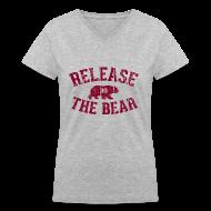 Women's T-Shirts ~ Women's V-Neck T-Shirt ~ Release the Bear - Women's - Grey V-Neck