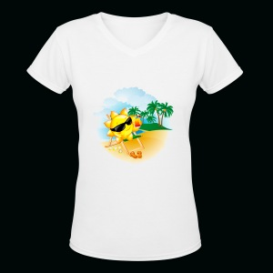 Sun Palm Beach - Women's V-Neck T-Shirt