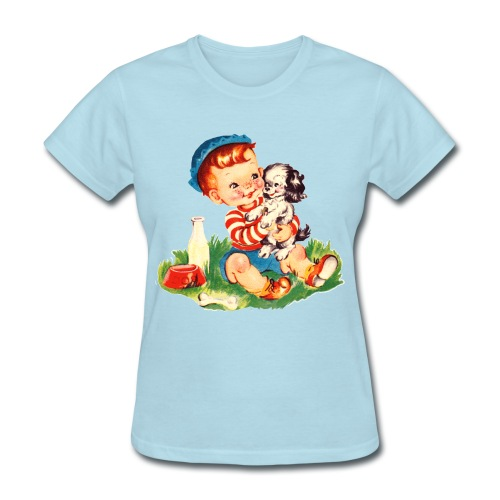 boy and puppy - Women's T-Shirt