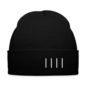 Line Knit Cap in Black - Knit Cap with Cuff Print