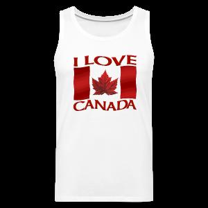 I Love Canada Men's Tank Top Canada Flag Souvenir Shirts - Men's Premium Tank