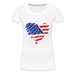 Women's Premium T-Shirt - womens t-shirts,t-shirts,pick,natural hair t-shirts,natural hair,nappy,love,kinky,independence day,curly,crop top,coily,afro,American flag,4th of july