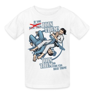 Kids' T-Shirt - Martial arts design revealing the phrase If you cannot beat them (crossed out), join them - Join them so you can beat them!