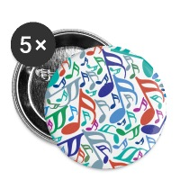 Colorful Music Notes - Large Buttons