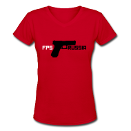 Women's T-Shirts ~ Women's V-Neck T-Shirt ~ Ladies V-Neck: FPS Russia Gun