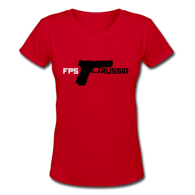 Ladies V-Neck: FPS Russia Gun - Women's V-Neck T-Shirt