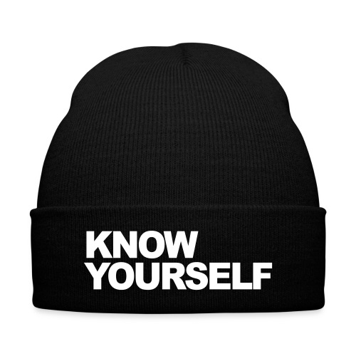 Know Yourself Beanie - Knit Cap with Cuff Print