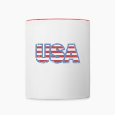 USA Flag Retro Bottles & Mugs