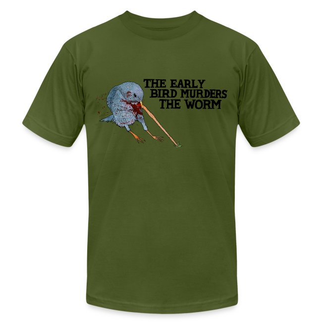 Early Bird Murders Worm - American Apparel T-shirt