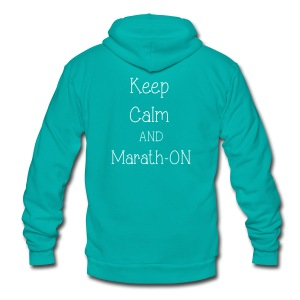 Keep Calm and Marath-ON - Unisex Fleece Zip Hoodie by American Apparel