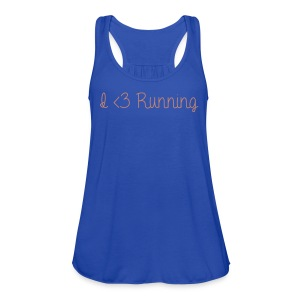 I Love Running w/ Pink Glitz - Women's Flowy Tank Top by Bella