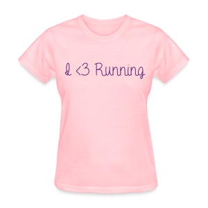 I Love Running w/ Purple Glitz - Women's T-Shirt