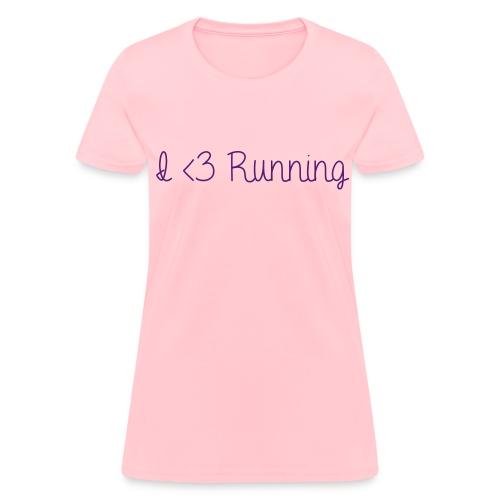 I Love Running w/ Purple Glitz - Women's T-Shirt