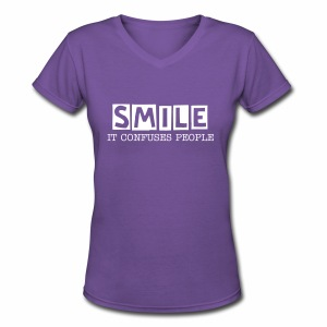 Smile, It Confuses People Womens V-Neck - Women's V-Neck T-Shirt