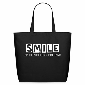Smile, It Confuses People Eco-Friendly Cotton Tote Bag - Eco-Friendly Cotton Tote