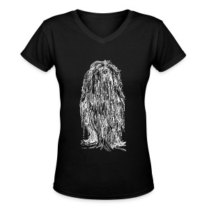 The Mane (White) - Ladies - Women's V-Neck T-Shirt