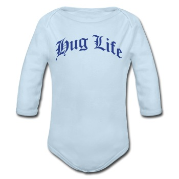 Hug life (blue  ) - Long Sleeve Baby Bodysuit