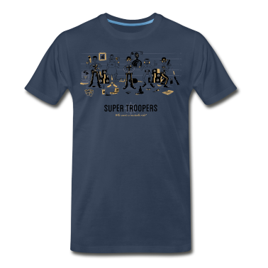 Super Troopers Navy T-shirt Illustrated by Ian Gla