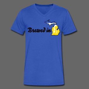 Brewed In Michigan - Men's V-Neck T-Shirt by Canvas