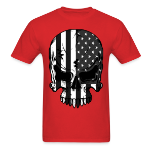 American Flag Skeleton Grey And White - Men's T-Shirt