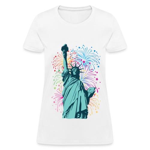 Lady Liberty Fireworks Women's T-Shirt - Women's T-Shirt