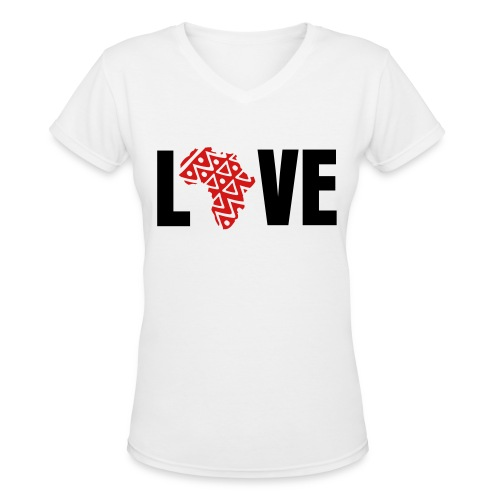 Live Love Africa in Red - Women's V-Neck T-Shirt
