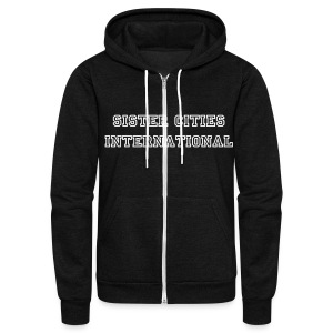 American Apparel Unisex Fleece Zip Hoodie w/ Sister Cities International Print  - Unisex Fleece Zip Hoodie by American Apparel