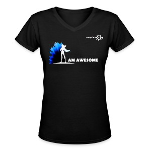 I AM AWESOME FM BLK V Neck - Women's V-Neck T-Shirt