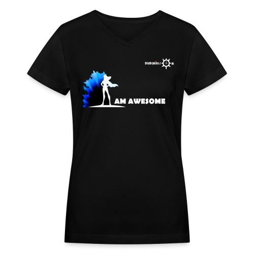 I AM AWESOME FM BLK V Neck - Women's V-Neck T-Shirt
