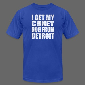 I get my coney dog from Detroit - Men's T-Shirt by American Apparel