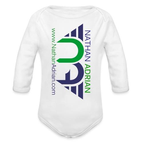 Nathan Adrian Baby Long Sleeve One Piece (Sideways Logo) - Organic Long Sleeve Baby Bodysuit