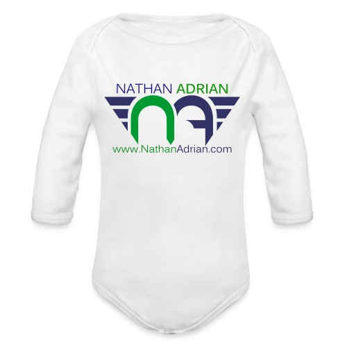 Nathan Adrian Baby Long Sleeve One Piece (Front Facing Logo) - Organic Long Sleeve Baby Bodysuit