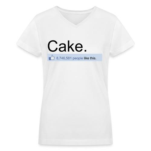 White Cake Likes - Women's V-Neck T-Shirt