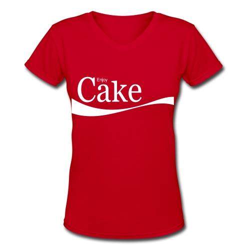 Red Enjoy Cake - Women's V-Neck T-Shirt