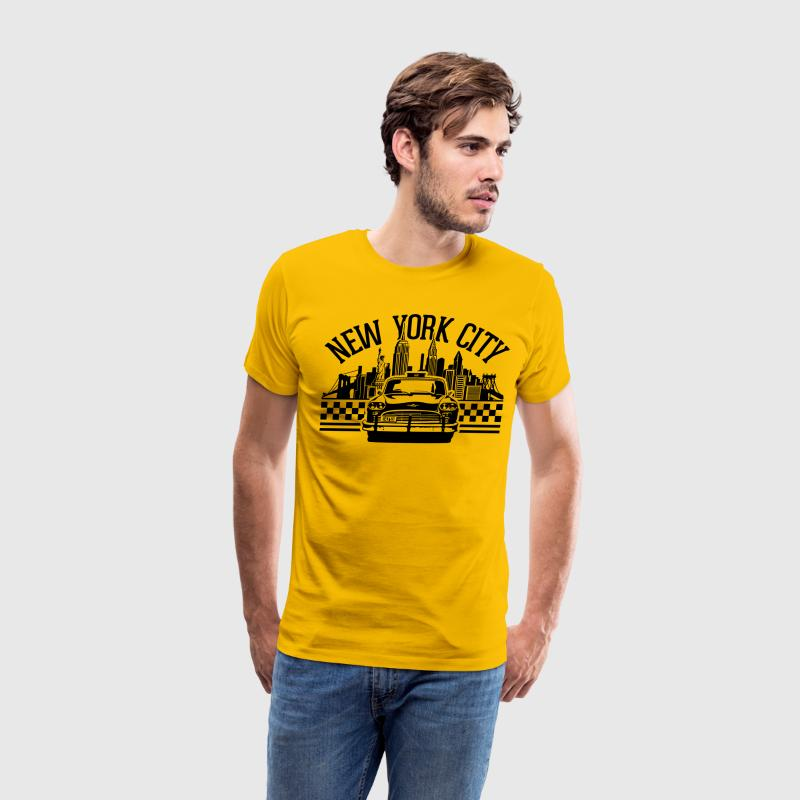 New York City Skyline and checker taxi - Men's Premium T-Shirt