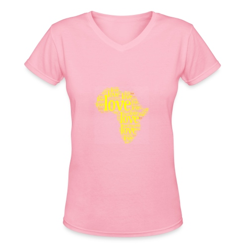 Pink/Yellow Africa  - Women's V-Neck T-Shirt