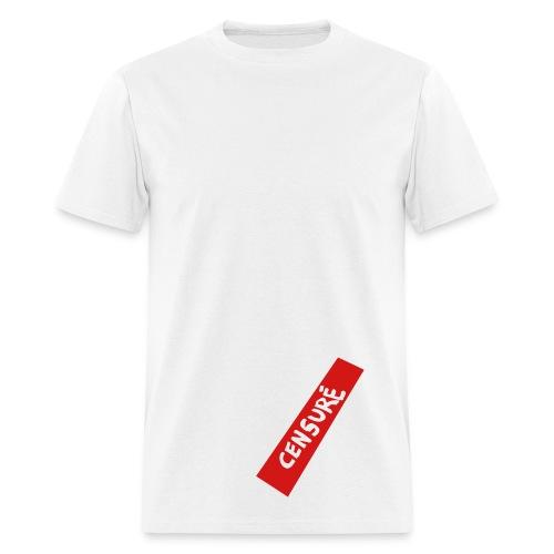 T-shirt pour hommes - Il est maintenant possible de censuré son engin grâce à ce chandail version blanc!