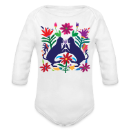 Baby Bodysuits ~ Baby Long Sleeve One Piece ~ Otomi Cats Long Sleeve Onesie