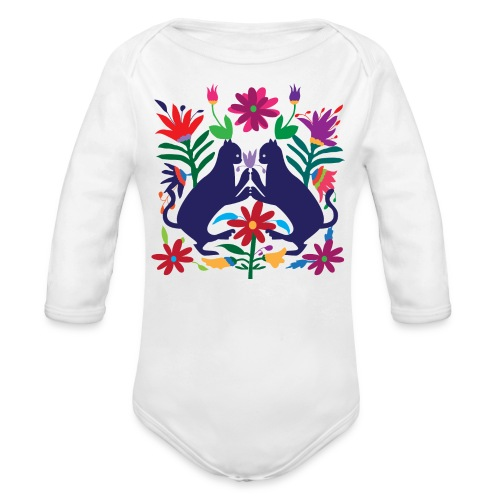 Otomi Cats Long Sleeve Onesie - Organic Long Sleeve Baby Bodysuit