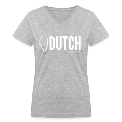 Illinois Dutch (White Text) - Women's V-Neck T-Shirt