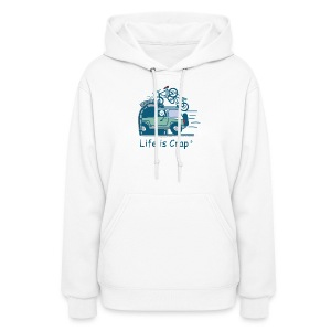 Jeep Mountain Bike Overpass - Womens Hooded Sweatshirt - Women's Hoodie