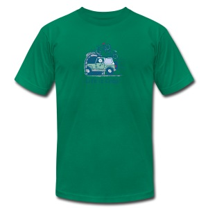 Jeep Mountain Bike Overpass Men's T-Shirt by American Apparel - Men's Fine Jersey T-Shirt