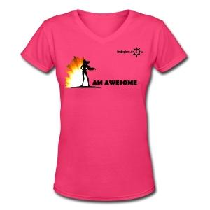 I AM AWESOME FM - Women's V-Neck T-Shirt