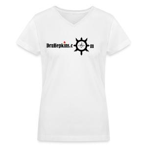 Dru Hepkins Logo FM  - Women's V-Neck T-Shirt