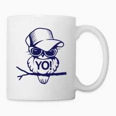 Bird with sunglasses and baseball cap Bottles & Mugs