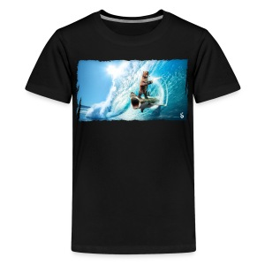 Shark Surfing Bear (kids)  - Kids' Premium T-Shirt