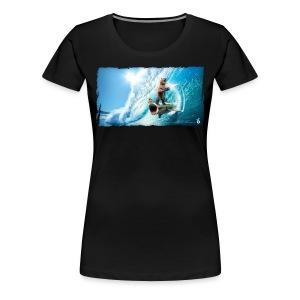 Shark Surfing Bear (womens)  - Women's Premium T-Shirt