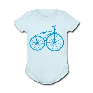 Bicycle art Baby Short Sleeve One Piece - Short Sleeve Baby Bodysuit